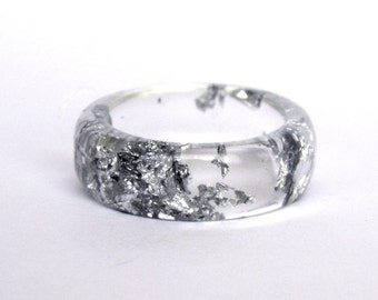 Silver Ring - Resin with Silver Leaf