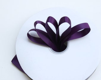 Dark purple satin ribbon Plum Satin Ribbon 5 yards 5/8 inches- Aubergine sutine ribbon - eggplant satin ribbon