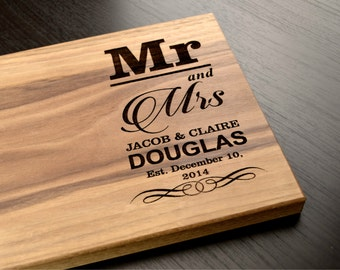 Personalized Cutting Board, Monogram Custom Wedding Gift, Engagement Gift, Anniversary Gift, Engraved Wooden Chopping Block, Kitchen Decor
