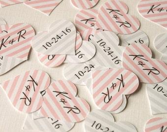 Striped Heart Wedding Confetti, Bridal Shower Confetti, Initials & Wedding Date Confetti, Wedding Table Decor