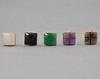 Square Statement Gem Rings. White, Black, Green, Purple and Brown. Large Statement Rings. Boho Rings. Bright Rings.