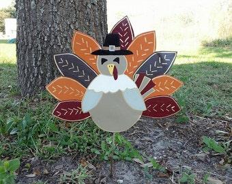 Thanksgiving Turkey, Pilgrim, Thanksgiving Decoration, Pilgrim Yard Stake, Decorative Thanksgiving planter stake, Turkey yard stake, Pilgrim