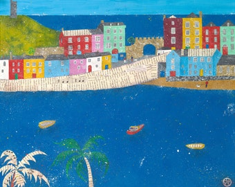 Tenby, Tenby painting, Tenby art, Wales, seaside, beach painting, blue sea, harbour painting, palm trees, Welsh art, giclee print.