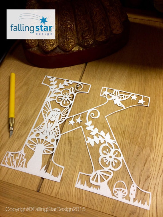 Items Similar To Fairy Letter Papercutting Template K On Etsy