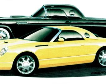 2001 Ford Thunderbird Concept 16x30 inch Art Print by Jim Gerdom