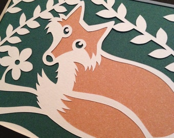 TEMPLATE Little Fox paper cut - Personal Use