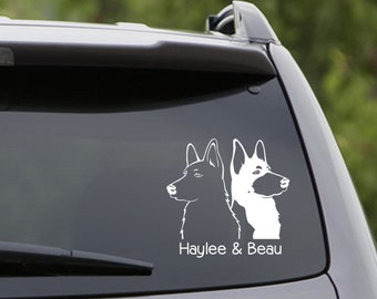 Vinyl Car Decal - 2 German Shepherds - Customize the Names! 6 Choices: Short/Long Hair/Black/White/Belgian Malinois