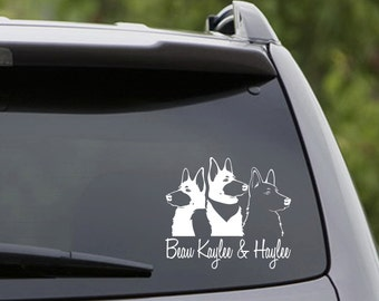 Vinyl Car Decal - 3 German Shepherds - Customize the Names! 6 Choices: Short/Long Hair/Black/White/Belgian Malinois