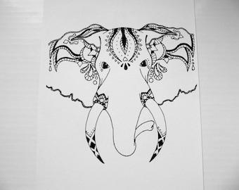 Tribal Elephant Print - Original Drawing - Black and White Print