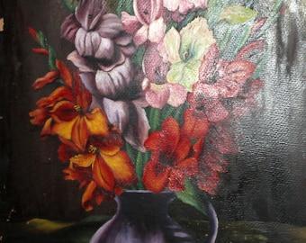 1940 Bulgarian art oil still life flowers painting signed