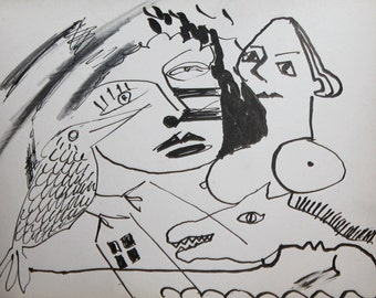 Abstract surrealism ink figural drawing