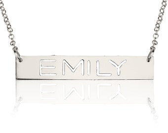 Personalized White Gold Bar Necklace ,Custom Name Plate Necklace , Cut Out Bar Necklace Pendant , Christmas Personalized Necklace Gift