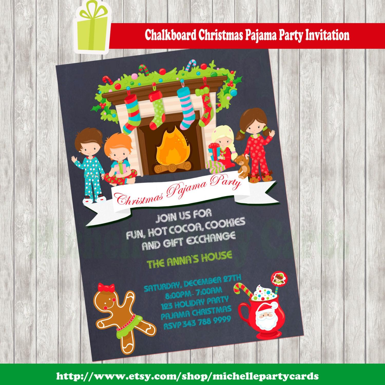 Chalkboard Christmas Pajama Party Invitation by ...