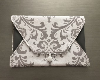 Grey and White Damask Diaper Clutch with Changing Pad