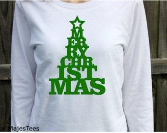 Merry Christmas Shirt, Womens Long Sleeve