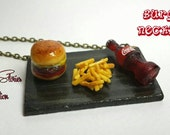 Hamburger fries and coca cola necklace - dollhouse miniature - mini food jewelry - food miniature necklace - LIMITED EDITION