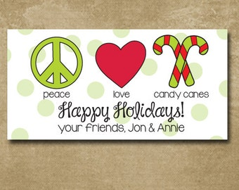 Peace Love Candy Canes, Holiday Gift Stickers, Christmas Labels, Personalized Gift Labels, Candy Cane Stickers