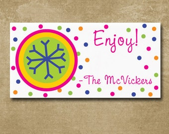 Snowflake Gift Stickers, Holiday Gift Labels, Personalized Snowflake Gift Stickers for Christmas, colorful Labels
