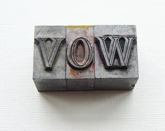 Vow letters metal type Letterpress 96pt Serif bold lower case