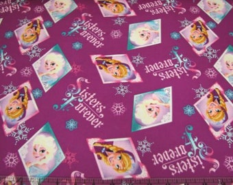 Frozen Sisters Disney Fabric Anna Elsa 100% Cotton *IN STOCK*