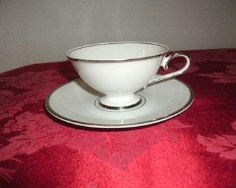 "Vintage Tea Cup and Saucer Edelstein Bavaria Silver Trim ""SIlver Star"" Pattern"
