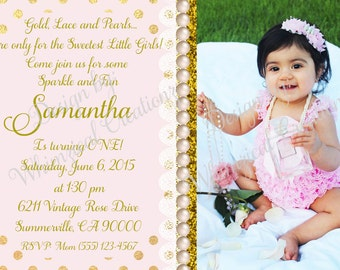 Gold, Lace and Pearls Invitation, Can be made in Spanish, Digital or Printed Invitations Available