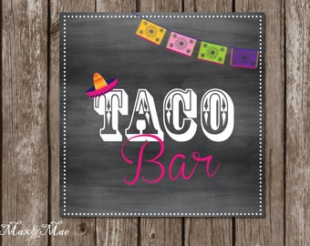Taco Bar Sign, Fiesta Party Posters, Hot and Mild Tags, Taco Sign, Fiesta Decorations, Digital