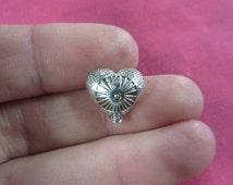 Bulk Heart Charms Antique Silver Tone Beads 2515-B44044 Love charm Carved charm 10