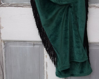 GREEN VELVET PANTS w/ fringe- medium