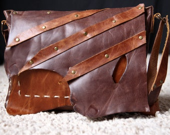 Original hand stitched  dark and light brown distressed leather bag / shoulder bag / leather satchel / raw edge leather