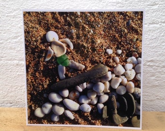 Beach art pebble surfer artwork glossy square blank greetings card   Surf art surfing surfer seaglass