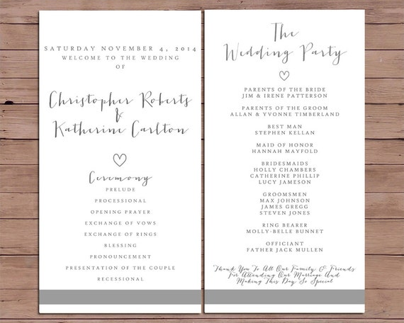 wedding ceremony order of service template free - wedding order of service program template piratebaymoon