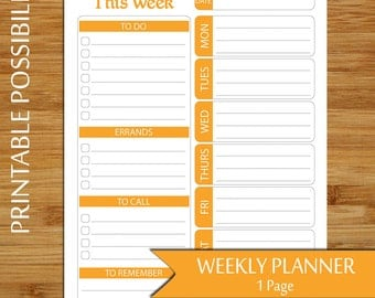 Weekly Plan - Week at A Glance Planner Printable in Orange- To Do List Plan - Weekly To Do List, Errands List, Daily To Do List- 8.5 x 11