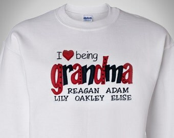 I Love Being Grandma Shirt | Personalized Grandma Gift | Heart Grandma Shirt | Completely Personalized by her Grandchildren!