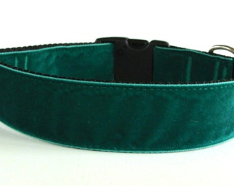 "Green Velvet Large Dog Collar - 1.5"" Wide - READY TO SHIP!"