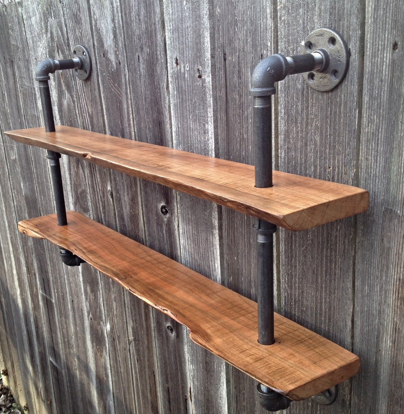 Living Edge Double Bookshelf Reclaimed Wood Industrial