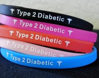 DIABETES Bracelet Type 2 - Black Red Blue Pink  FREE SHIPPING