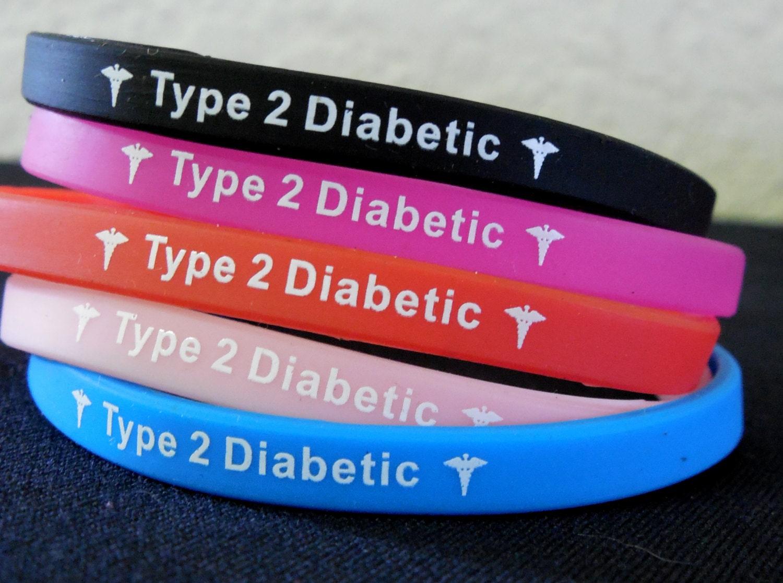Diabetes Bracelet Type 2 Black Red Blue Pink Free Shipping