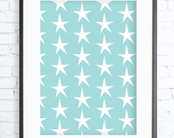 Instant Download Printable, Blue Stars Pattern , Print Art,  Modern Art Print, Poster, digital art, Print, star art, star print, Blue