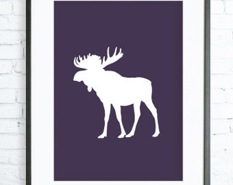 Dark Purple Moose print Art, Instant Download Printable, Christmas  printable art, Print Art, Moose Wall Decor, Moose Art Print