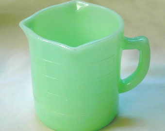 1 Cup Measuring Pitcher in Jade Green Color Glass