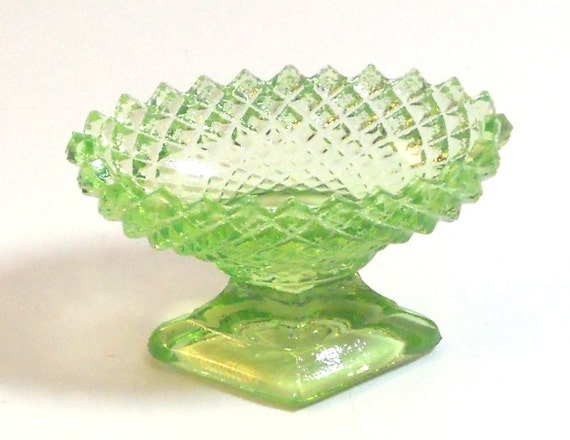 Footed Salt English Hobnail in Key Lime by by ClasseyGlass on Etsy