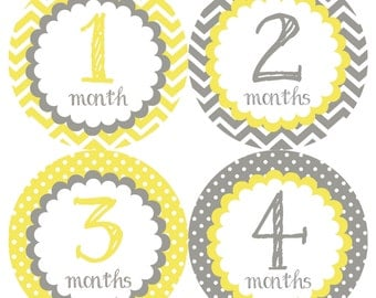 Yellow & Gray Monthly Onesie Stickers - Light Lemon Yellow Grey Soft Classic Gender Neutral