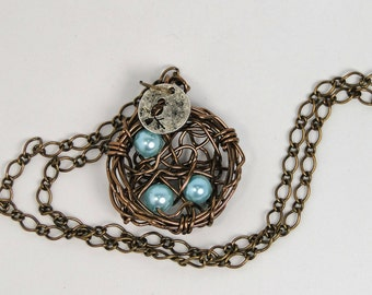 Birds Nest Pendant blue robins egg necklace birds nest necklace wire wrapped birds nest pendant necklace jewelry under 50 gifts for her
