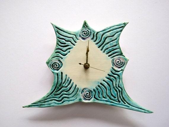 Timeless handmade ceramic clock numberless clock by acosmicmermaid - Numberless clock ...