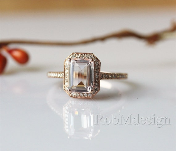 emerald cut 57mm fancy morganite ring halo by