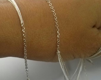Bracelet necklace link silver chain and multicolors threads, minimalist jewel.Choice of length and colors