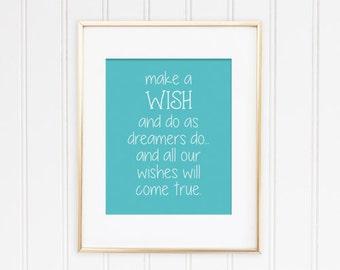 make a wish print - wishes nursery art print