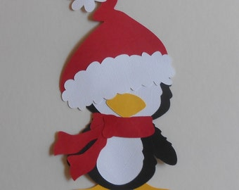 Cute Christmas penguin is made from a paper piecing pattern.