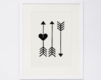 ARROWS, Linocut Print